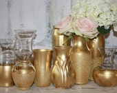 Gold vases, gold glitter wedding decor,  Set of 12 ombre gold dipped vintage bouquet vases, gold painted vase, wedding table decor