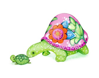 Nursery Decor - Nursery Wall Art - Nursery Art - Whimsical Painting - Cute Animal Nursery - Baby Turtle - Green Pink White Decor
