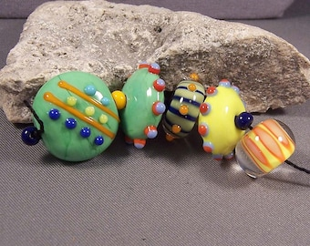 Handmade Lampwork Beads by Monaslampwork - Flat Round Focal with Friends - Lampwork Glass Beads by Mona Sullivan Organic Tribal Boho Gypsy