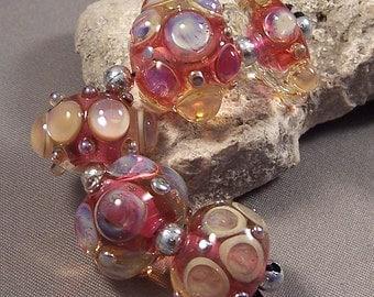 Handmade Lampwork Beads by Monaslampwork - Pink Royals -Lampwork Glass Beads by Mona Pink Opals and Metallic Dots Boho Organic Gypsy