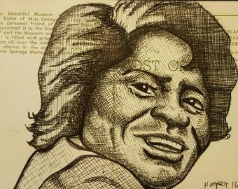 James Brown - Original ink drawing on vintage post card by Mr Hooper of Nashville Tennessee