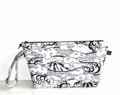 Wedge Bag, Small Project Size Knitting Bag, Imported Japanese fabric, Mount Fuji and waves, black and white