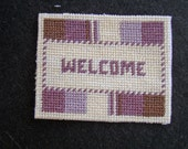 Dollhouse Miniature Needlepoint Welcome Mat or Rug in Purple, Brown and Ecru