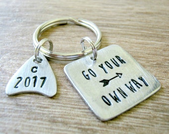 Graduation Keychain, Class of 2017 Keychain, Go Your Own Way, Going Away Gift, Saying Goodbye, Embrace Your Journey, Pewter tags, arrowhead