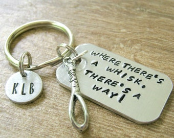 Personalized Cooking Keychain, Where there's a Whisk, There's a Way, baker gift, caterer gift, chef gift, culinary school, optional disc
