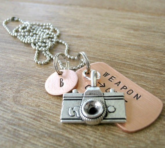 Weapon of Choice Necklace, copper dog tag, chain or cord choice, choose your charm from our list, link inside listing, camera necklace