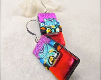 Modern design earrings, dichroic glass earrings, dichroic jewelry, fused glass earrings, Hana Sakura, red earrings, statement earrings
