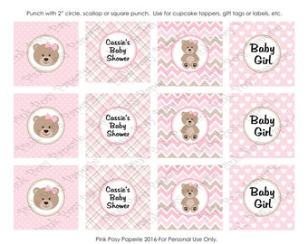 Printable Pink Teddy Bear Girl Baby Shower Cupcake Toppers