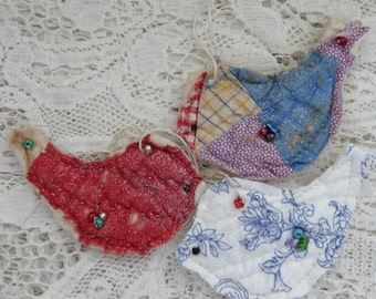 3 upcycled quilt ornaments vintage cutter quilt bird ornament cottage shabby scrap fabric Christmas ornament, beaded bird,red bird blue bird