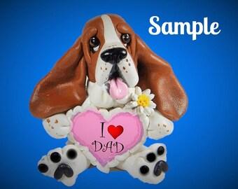 Design 1 Basset Hound Dog Sculpture love DAD OOAK Clay art by Sallys Bits of Clay