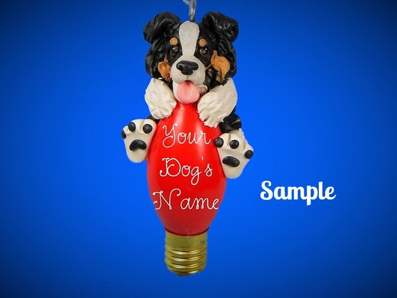 Tri Colored Australian Shepherd Aussie Dog Christmas Light Bulb Ornament Sally's Bits of Clay PERSONALIZED FREE with dog's name