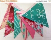 STOREWIDE 15% OFF Dark Pink and Aqua Shabby Chic Flag Bunting Banner Featuring 7 Large Fabric Flags. Garland Bunting, Photo Prop, Decoration