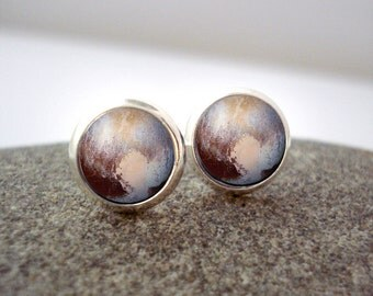 Pluto Stud Earrings - Tiny Silver Petite Silver Solar System Studs- Astronomy, Universe, Outer Space, Cosmos, New Horizons, Dwarf Planet