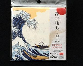 Japanese Yuzen Paper 6 Patterns 24 Sheets 15 x 15 cm Famous Ukiyoe Paintings