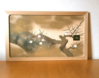 Japanese Small Sliding Door - Vintage Sliding Door Panel - Plum Blossoms On Branches (2)