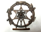 Large Ferris Wheel Brooch , Antique Cars and Trains ,Carnival Pin ,Automobiles , Locomotives