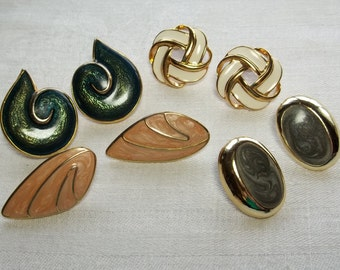 80's Enamel Earrings Pierced 4 Sets Retro,Gold tone brass,Gray and White,Beige Peachy Cream,Off White and Dark Teal Green,New Wave lot