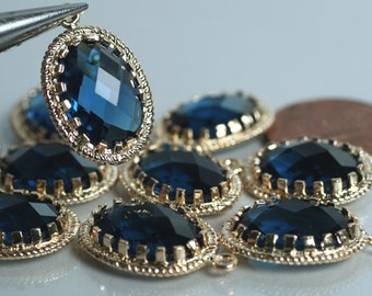Promotion SALE 25% off Framed blue sapphire glass drop charm connector, earring componenet, necklace pendant, 2 pcs (item ID G53N10GP)