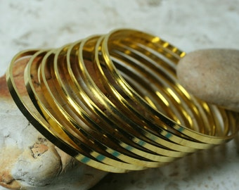 Gold plated stacking bangle bracelet blank, one piece (item ID GPB62)