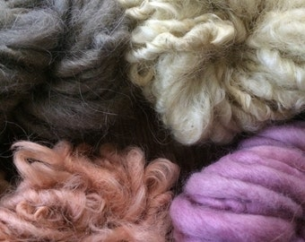 Four skeins all natural color natural dyes Handspun mini skeins texture pack yarn 40 yards handspun lot set