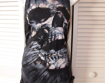spooky zombie skull shredded backless t shirt tank top
