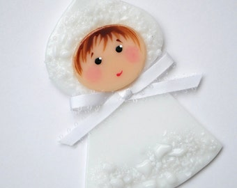 Snow Baby, Christmas Ornament, Baby's First Christmas, Glass Ornament, Handmade, Glass Decoration, CGGE, Winter Baby, Baby Decoration, 077