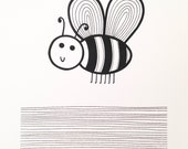 New Happy Bee screen print  by Jane Foster  - hand printed signed LIMITED EDITION