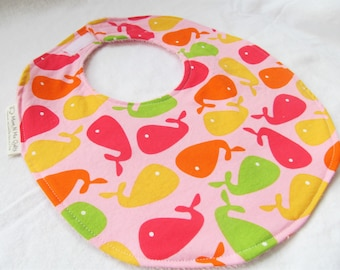 Baby Girl Bib - Urban Zoology Whales in Pink - Boutique Bib for Baby or Toddler