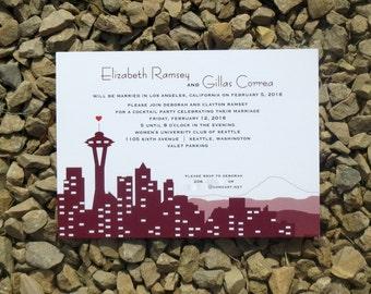 Seattle Wedding Invitation Set - Marsala - Wedding Invitation - Custom Skyline