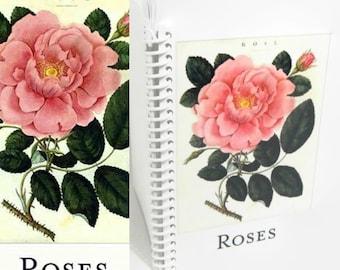 A6 Notebook Pink Damask Rose, Cute Pocket Spiral Blank Notebook, Spiral Bound Writing Journal Diary, Gardener Gift, Sketchbook, Shabby Chic