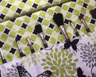 Makeup brush roll, Makeup brush case, crochet hook case, paint brush case, butterflies