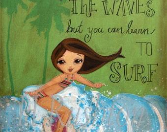 Surf Art- Canvas Wall Art - Canvas Art - Surf Decor- Surfer Girl Art - Beach Decor _Any Size on Canvas You Pick