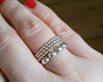 Minimalist Custom Tiny Dot Sterling Silver Stacking Ring.
