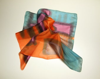 Hand painted Silk Mini-Hand painted Silk scarf - Silk mini-scarf - Scarflette silk - Giveaways -  Woman scarf 21.7x21.7
