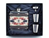 Pendleton© Wool FLASK Gift Set - Pendleton Fabric Wrapped Flask - Flask And Shot Glasses - Native American Style Wool Fabric - Indian Style