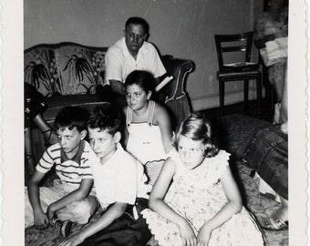 vintage photo 1950s TAn Children Hypnotized by TV Television Mid Century Snapshot