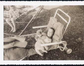 vintage photo 1956 Bathingsuit Boy Laying in Lawn Chair W CAts