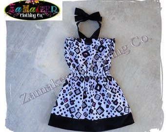 Custom Boutique Girl Halter Summer Dress Top Clothing Black Purple Toddler Birthday Size 3m 6m 9m 9 12 18 24 month 2 2T 3 3T 4T 4 5 6 7 8