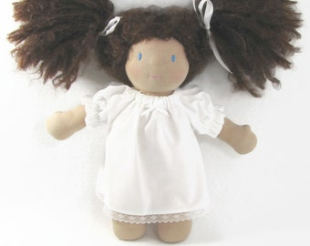 White Cotton Nightgown for your 10 to 12 inch Waldorf Doll, Sweet white doll nightgown, Toy Nightgown, baby doll nightgown