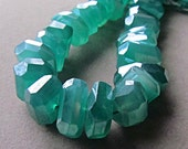 Green Onyx Irregular Nuggets Diamond Finish Center Drilled Faceted Genuine Gemstone Beads Get DISCOUNT with Coupon