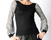 Black womens top, lace print sheer sleeves, Long puffy sleeves, grey lace print, Black and lace top