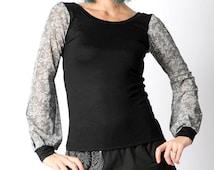 Black womens top, lace print sheer sleeves, Long puffy sleeves, grey lace print, Black and lace top