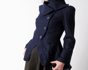 Dark blue Statement Jacket - Bustle Jacket in Navy blue thin wool - Assymetrical couture Coat, with ruffled back, sz UK 12