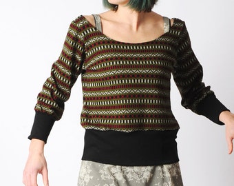 LAST ONE Striped knit sweater, Black green pink striped sweater, Geometric knit sweater