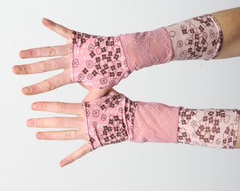 Long pink armwarmers, Pink jersey fingerless gloves, Pink gloves in a patchwork of pink floral jersey and lace mesh