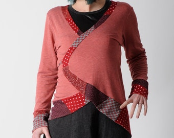 Red wrap jacket, Long red and grey jersey jacket, Red wrap jersey cardigan with patchwork details, size FR 42/ UK 14