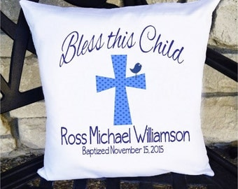 Boys Baptism Pillow - Blue and Navy Cross - 14 x 14