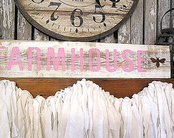 Reclaimed White Painted Wood Farmhouse Sign