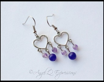 Peace and Love Heart Earrings with Amethyst and Blue Aventurine