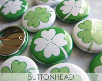 10 Saint St Patrick's Day Party Favors - Shamrock Four Leaf Clover Buttons Pins